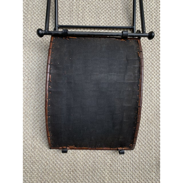 Brown Vintage Woven Leather and Iron Footstools - a Pair For Sale - Image 8 of 10