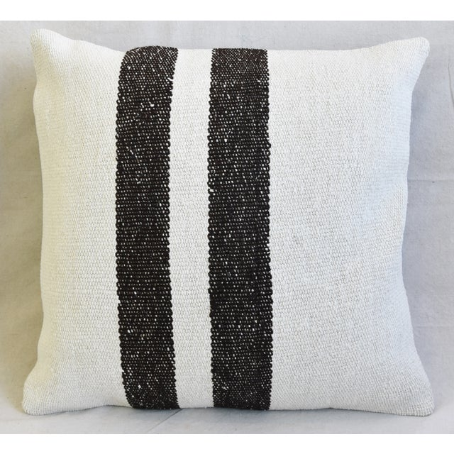 "Organic Hemp & Cotton Turkish Kilim Feather/Down Pillows 23"" Square - Pair For Sale - Image 4 of 13"