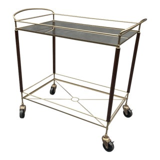 1970's Mid-Century Modern ItalianTwo Tier Bar Cart For Sale