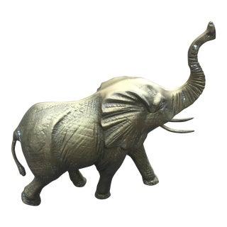 Vintage Large Brass Elephant Statue Figurine