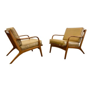 1950s Vintage Danish Modern Modern Walnut Lounge Chairs- a Pair For Sale