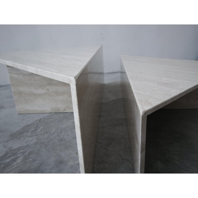 Cream 2-Piece Tiered Post-Modern Italian Travertine Coffee Table For Sale - Image 8 of 10
