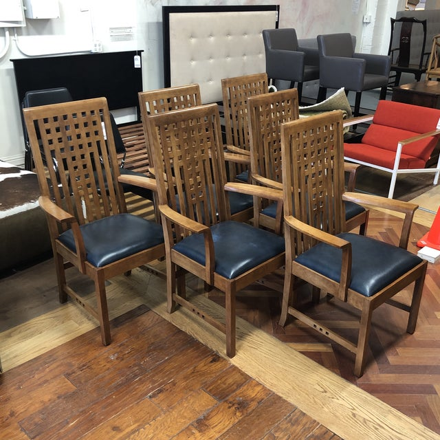 Design Plus Gallery presents a Set of Six Lattice Arm Chairs by Stickley Furniture. From the Metropolitan Collection. An...