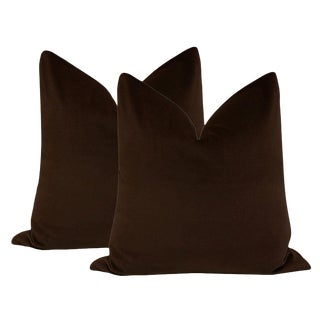 "22"" Chocolate Velvet Pillows - a Pair For Sale"