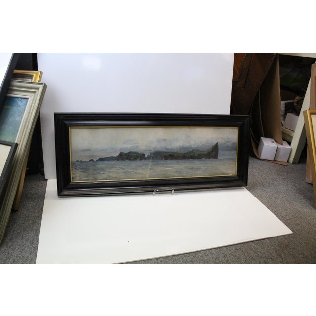 Extremely realistic gouache illustration of a lake within the Alps by Diemer. Signed and dated 1905. Gouache in great...