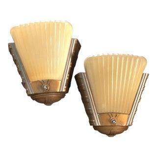 Streamline Art Deco Sconces - A Pair For Sale