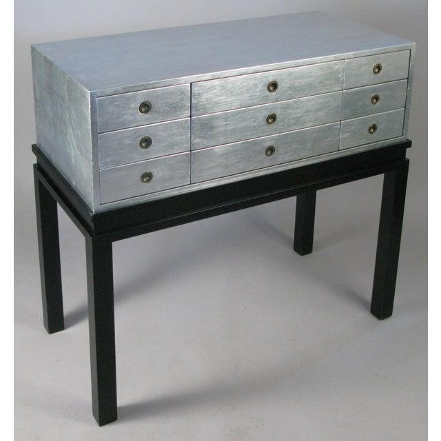 Art Deco 1960s Silver Leaf Nine-Drawer Chest by Kittinger For Sale - Image 3 of 9