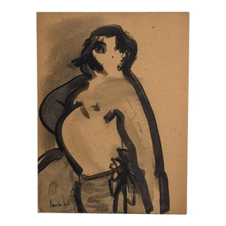 """1960s Vintage David Jacobs """"Untitled"""" Portrait of Man on Board Painting For Sale"""