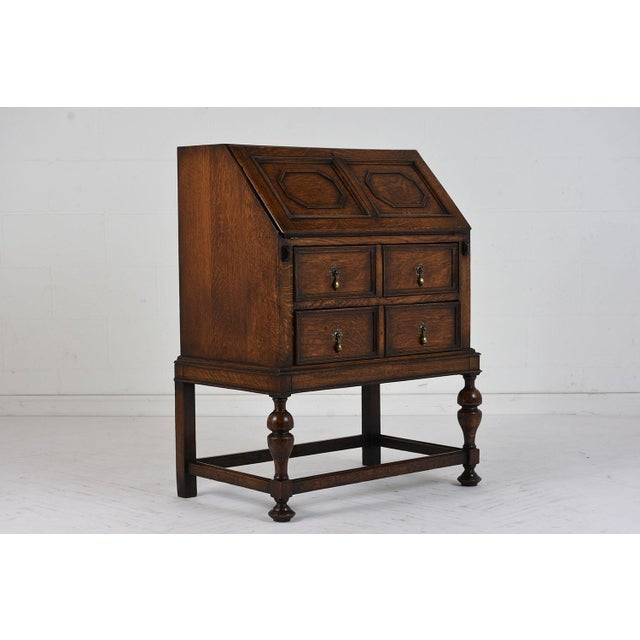 Gold 19th Century Jacobean-style Drop-Front Desk For Sale - Image 8 of 10