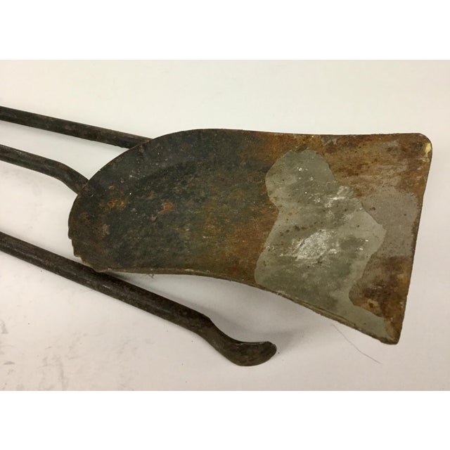French Antique Wrought Iron Fireplace Tool Set - 2 Piece For Sale In Portland, ME - Image 6 of 12