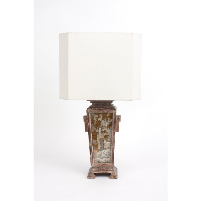 Brass James Mont Asian Cerused Oak Lamp For Sale - Image 7 of 7