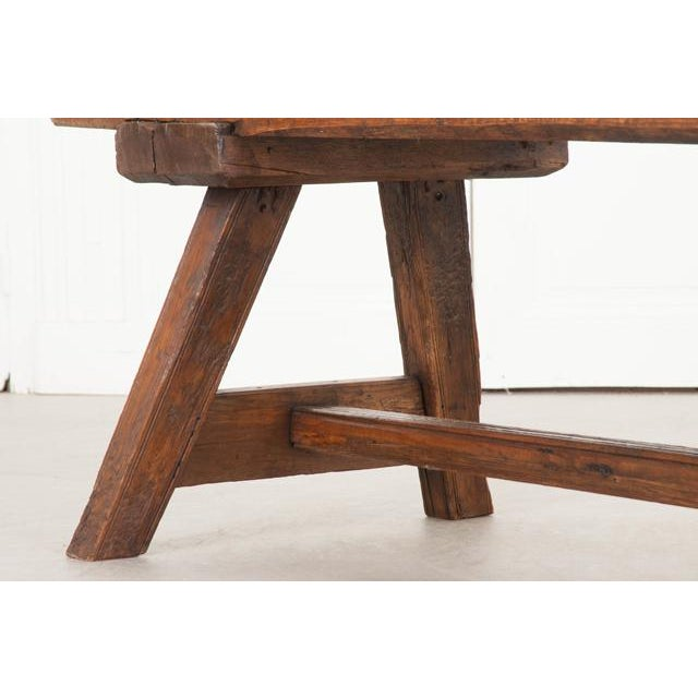 English Early 19th Century Thick Oak Bench For Sale - Image 11 of 12