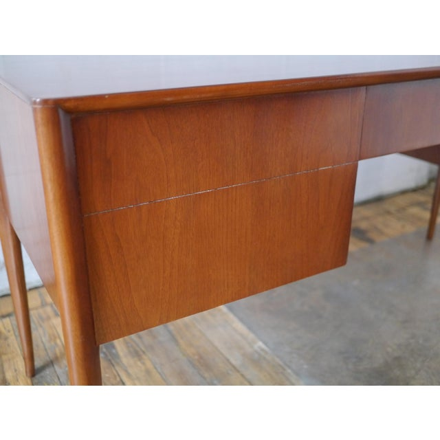 Simple and Elegant Desk in Walnut by T.h. Robsjohn Gibbings for Widdicomb. This Design Features Two Sizable Drawers and a...