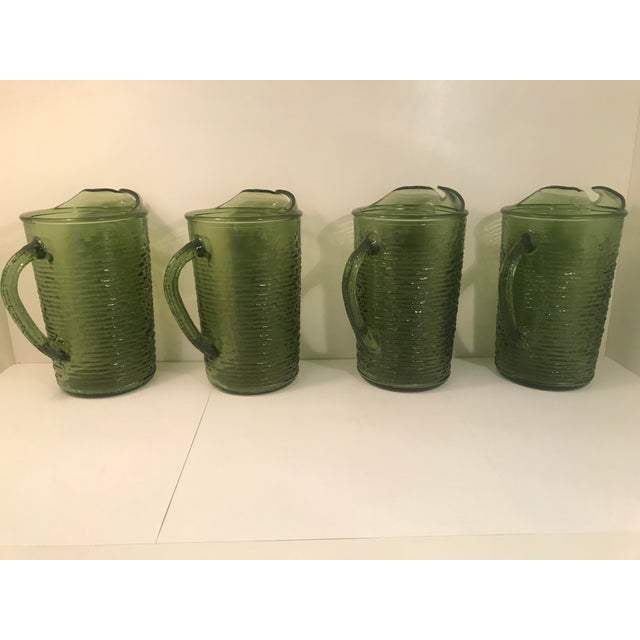Anchor Hocking 1960s Vintage Anchor Hocking Soreno Green Pitcher For Sale - Image 4 of 5