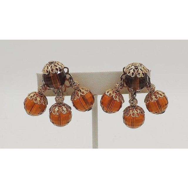 Mid-Century Modern 1950s Napier Brown Faceted Bead Earrings For Sale - Image 3 of 7