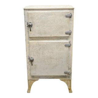 Antique Tennessee Furniture Corp. Metal Ice Box Refrigerator Freezer For Sale