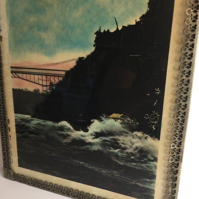 1950s Mid Century Vintage Ocean Waters and Bridge Framed Photo For Sale - Image 5 of 6