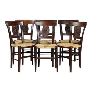 French Carved Walnut Rushseat Dining Chairs - Set of 6 For Sale