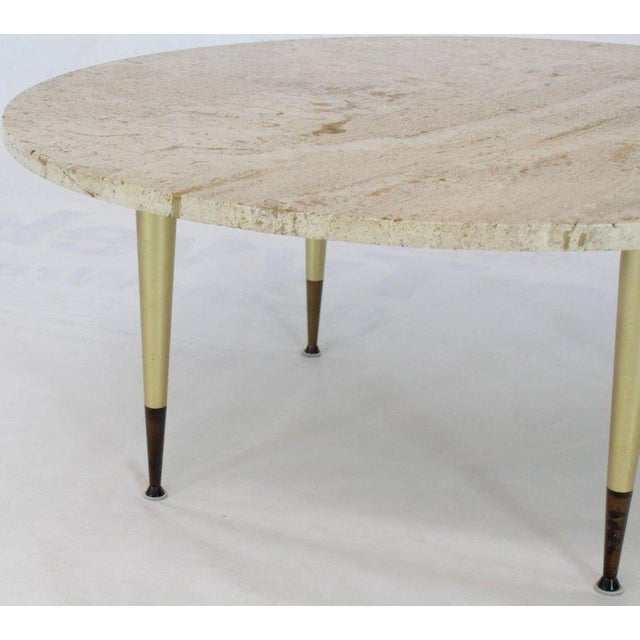 Metal Italian Modern Round Travertine Top Coffee Table on Tapered Metal Legs Base For Sale - Image 7 of 11