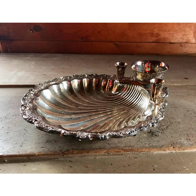 1920s Seashell Server Bowl with Candles & Dip, Sterling Silver Plated For Sale - Image 6 of 6