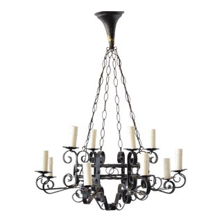 Mid-20th Century Antique French Iron Chandelier For Sale