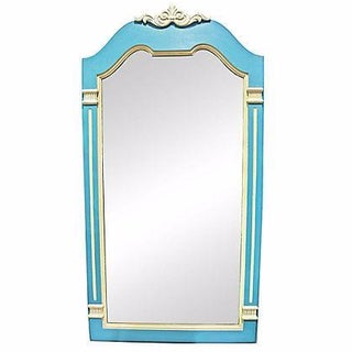 Blue & Gray Painted French Style Mirror For Sale