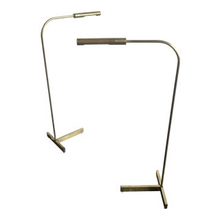 Vintage Modernist Brass Pharmacy Floor Lamps - a Pair For Sale