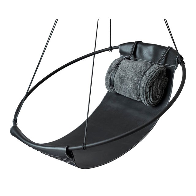 Sling Hanging Chair - Black Leather For Sale