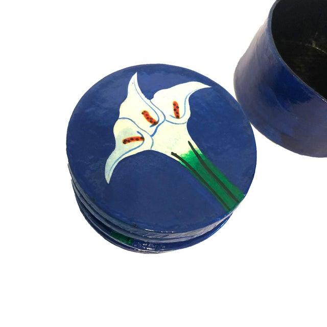 Hand-Painted Papier-Mâché Coasters - Set of 8 For Sale - Image 4 of 5