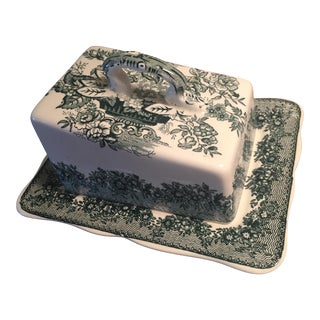 Mid 20th Century Mason's Ironstone Green Transferware Butter Dish For Sale