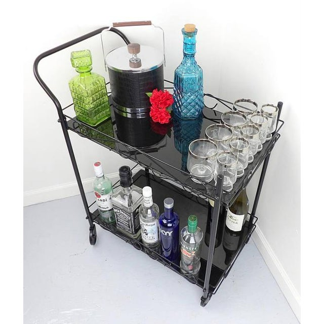 Contemporary Mid-Century Modern Black Metal & Glass Bar Cart For Sale - Image 3 of 7