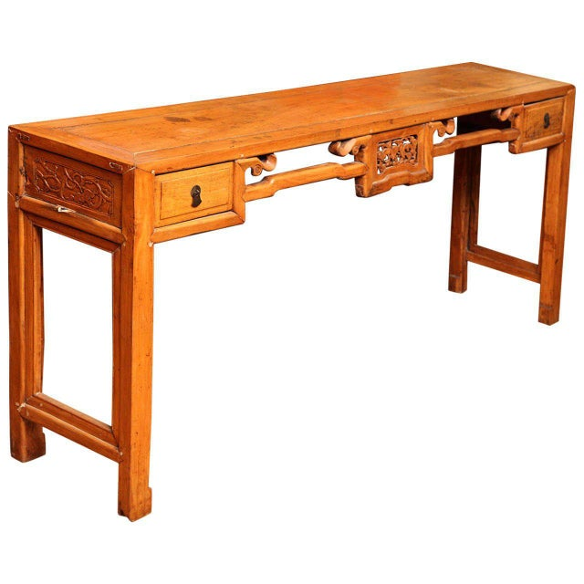 Chinese, 19th Century, Natural Elm Antique Console Table with Carved Decor For Sale - Image 11 of 11