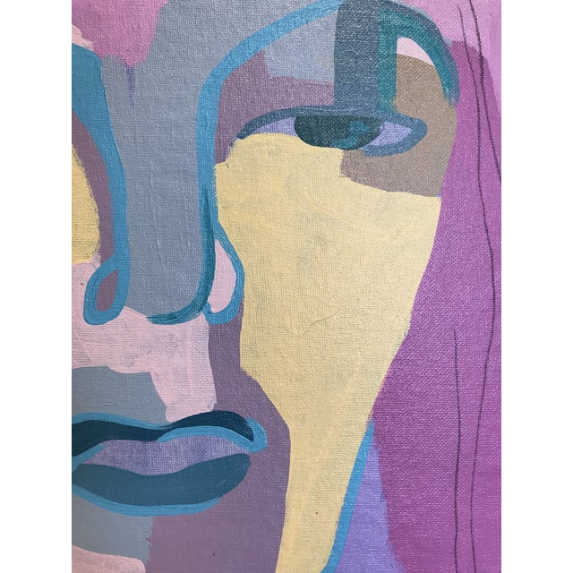 "Acrylic Paint Contemporary Abstract Portrait Painting ""I Was Looking for Her"" - Framed For Sale - Image 7 of 8"