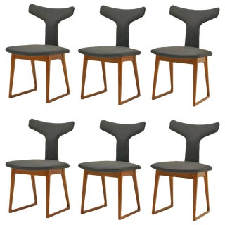 Rare Set of Six Dining Chairs by Arne Vodder for Sibast, Teak and Black Leather For Sale