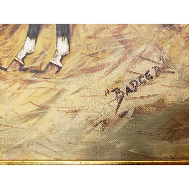 """Antique English """"Badger"""" Oil Painting on Canvas Signed E.V. Beatty For Sale In Houston - Image 6 of 10"""