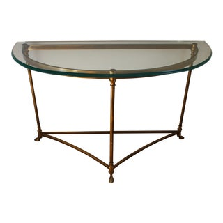 Brass & Glass Demi-Lune Table - Italian For Sale