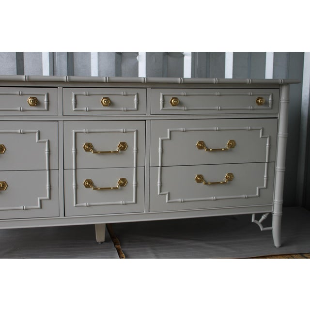 Professionally Lacquered Vintage Thomasville Allegro Faux Bamboo Chinoiserie Dresser For Sale - Image 10 of 11
