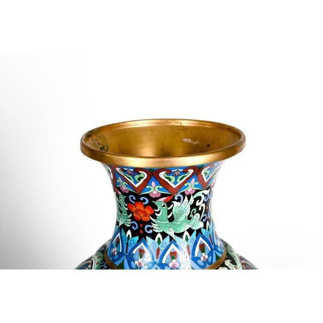 Metal Vintage Gilt Brass Interior Cloisonné Decorative Vase For Sale - Image 7 of 11
