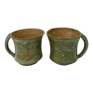 1960s Boho Chic Potter Green Glazed Mugs - a Pair
