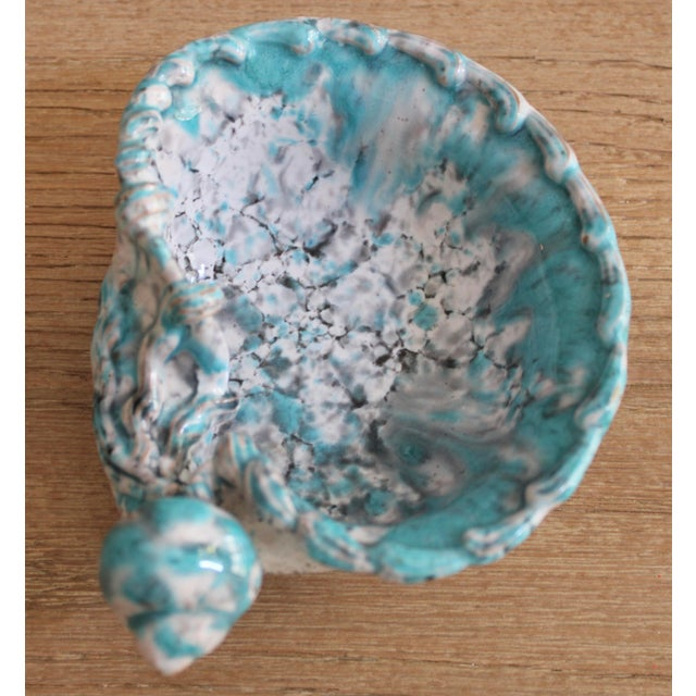 Ceramic Mid Century Turquoise Blue Italian Pottery Shell Dish by Fratelli Fanciullacci For Sale - Image 7 of 9