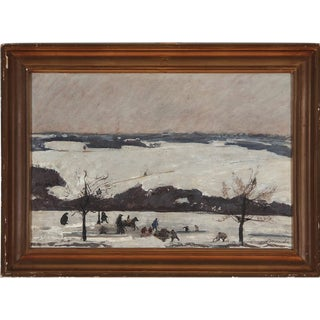 Snow Landscape With Playing Children' by Folmer Bonnen, 1960 For Sale