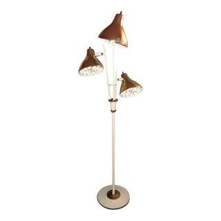 Gerald Thurston Lightolier Triennale Cream Brass Floor Lamp, 1960s For Sale