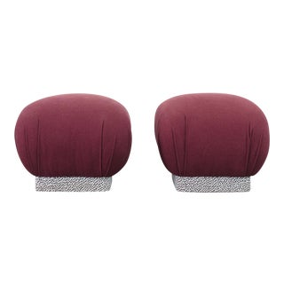 Mid-Century Modern Karl Springer Purple Cotton Soufflé Poufs - a Pair For Sale
