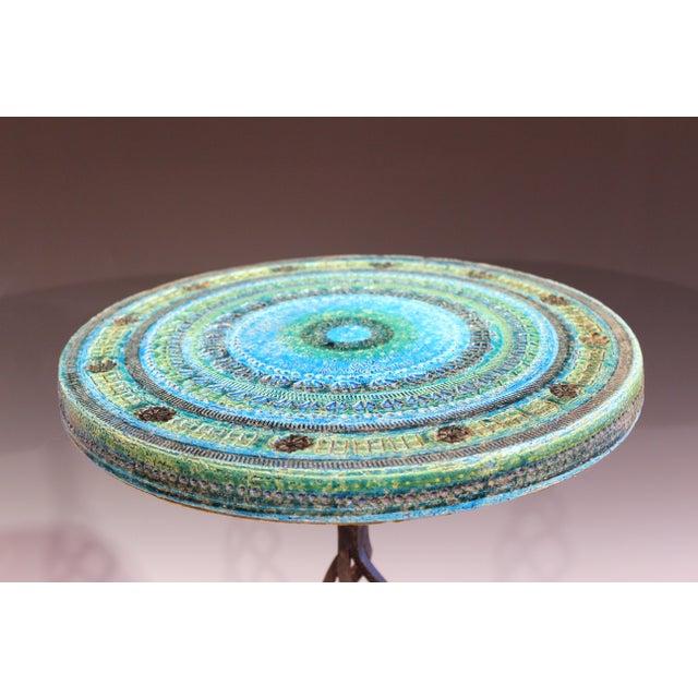 Metal 1960s Bitossi Rimini Blue Londi Italian Pottery Wrought Iron Ceramic Table For Sale - Image 7 of 10