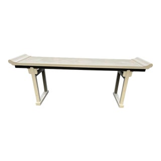 1980s McGuire Hollywood Regency Pagoda Console Table For Sale
