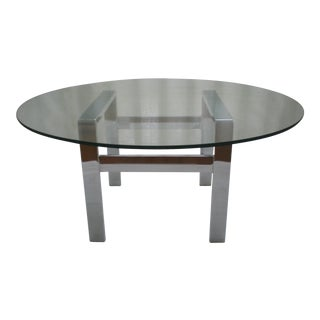 Milo Baughman Chrome & Glass Coffee Table
