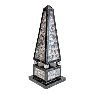 1960s Mid-Century Modern Silver Tessellated Stone Obelisk For Sale