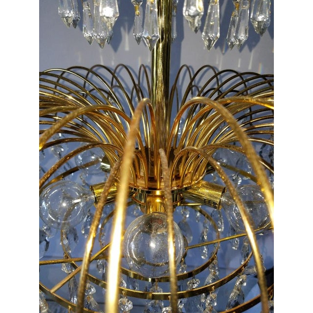Mid-Century Crystal & Brass Plated Spider Chandelier - Image 6 of 11