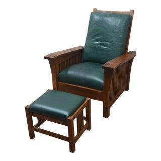 Stickley Oak Mission Morris Chair W/ Ottoman For Sale