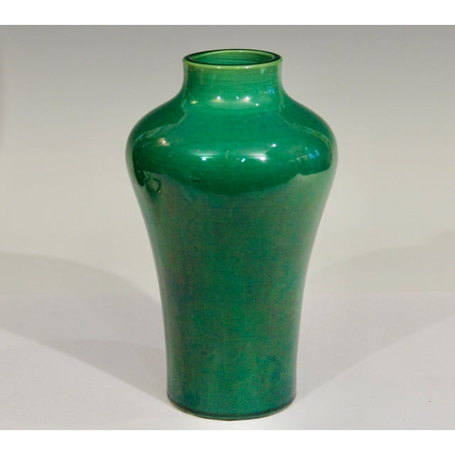 Antique 1910s Awaji Art Nouveau Studio Pottery Meiping Organic Green Monochrome Vase For Sale - Image 11 of 11